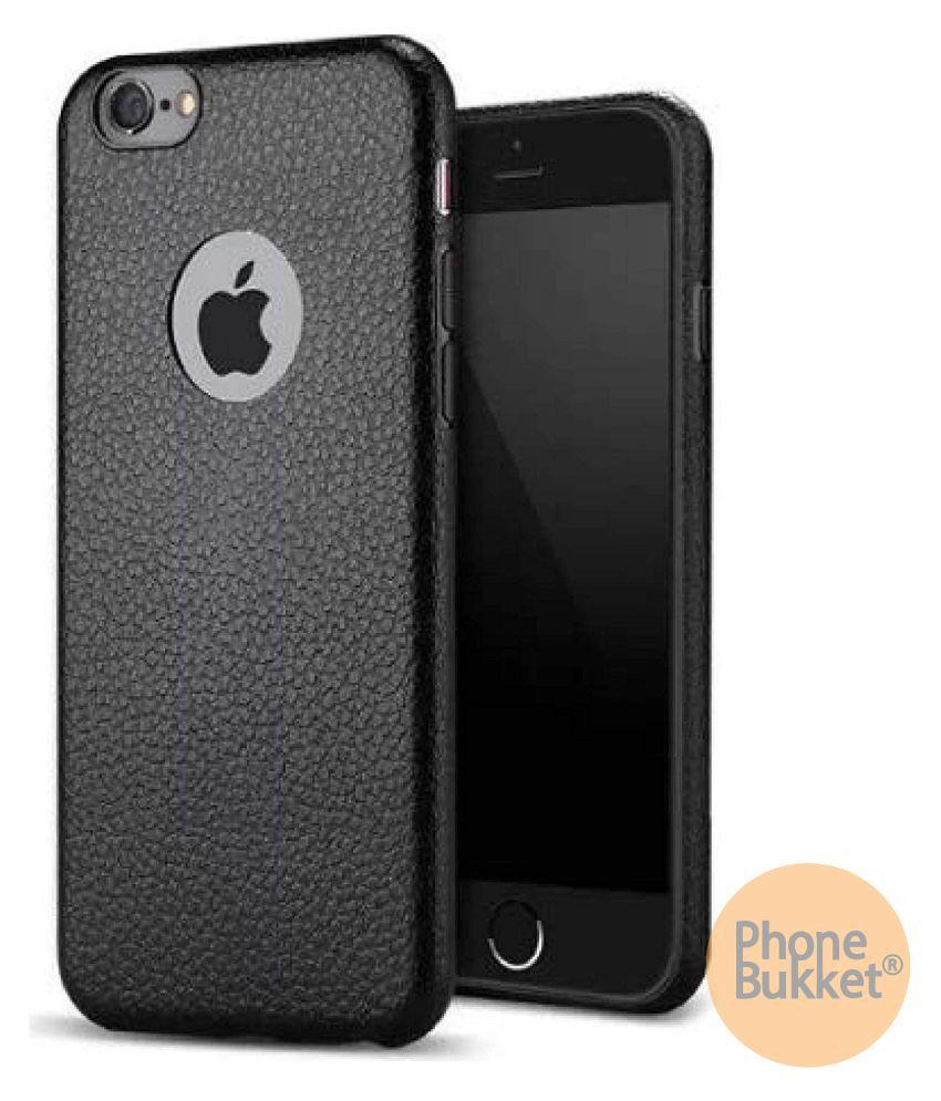 PhoneBukket Black Leather Finish Back Case Cover for Apple iPhone 6