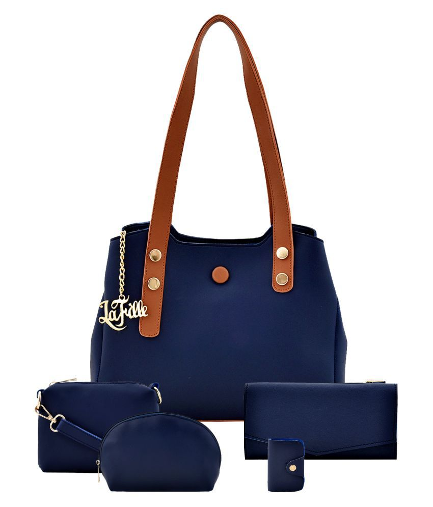 LaFille Blue Faux Leather Handheld