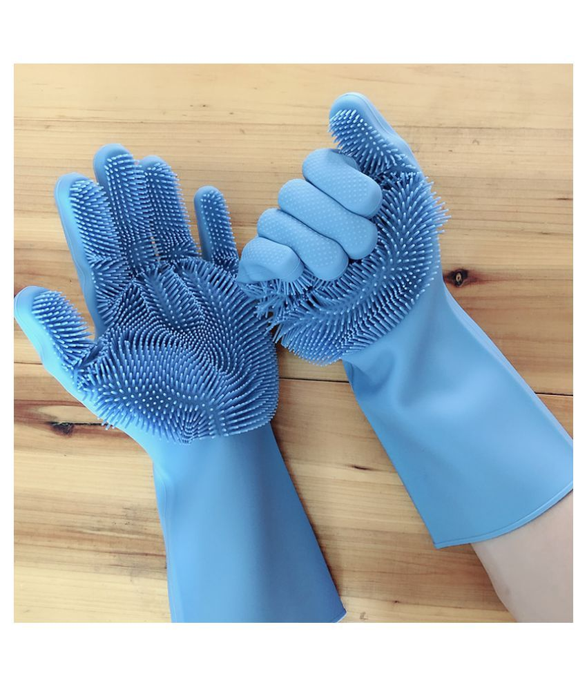 NIHIT Plastic Fiber Standard Size Cleaning Glove Silicon Gloves