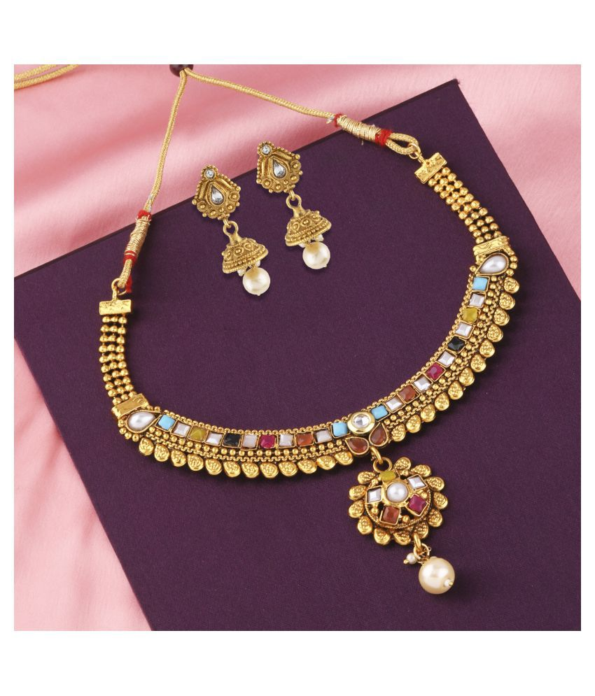 Silver Shine Unique Traditional Gold plated Multi Colour Stone Studded Pearl Drop Designer PartyWear Wedding Necklace Jewellery Set For Girls and Women