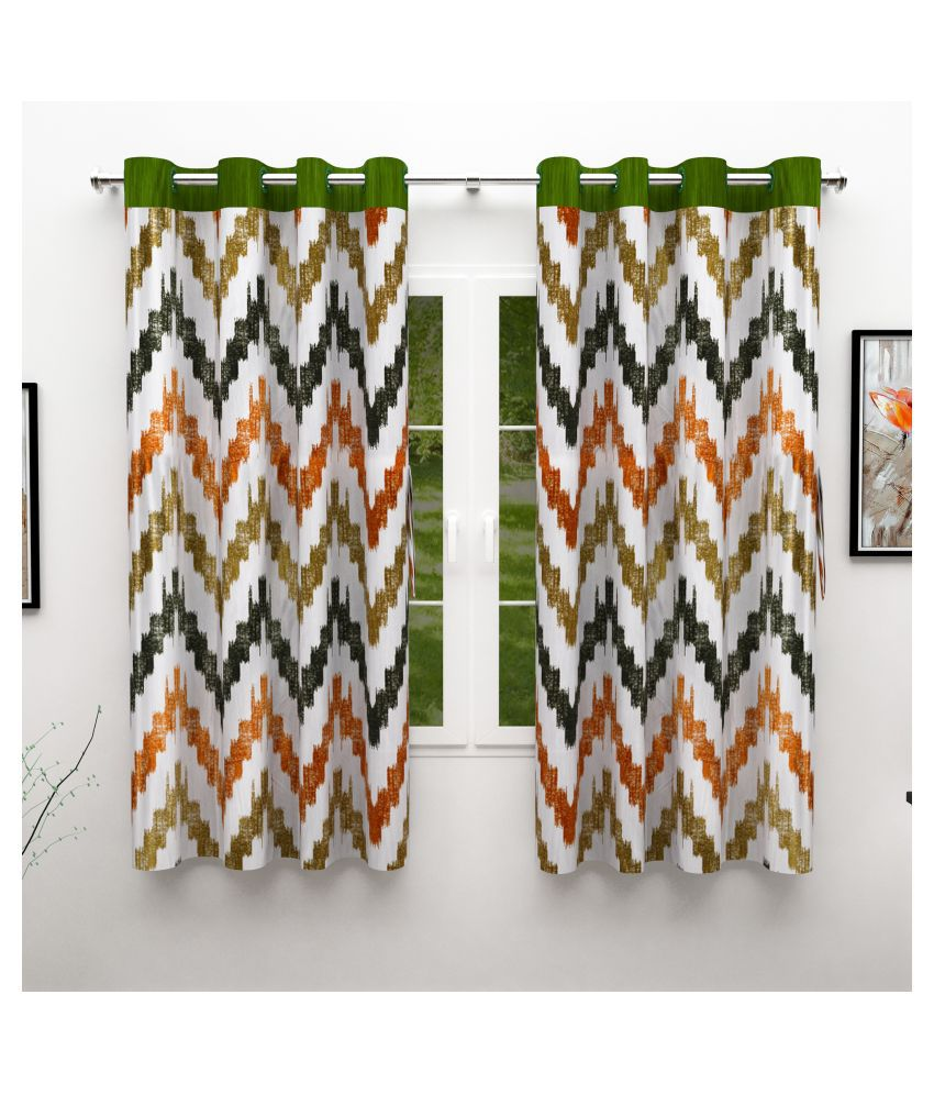 Story@Home Set of 2 Window Semi-Transparent Eyelet Silk Curtains Green