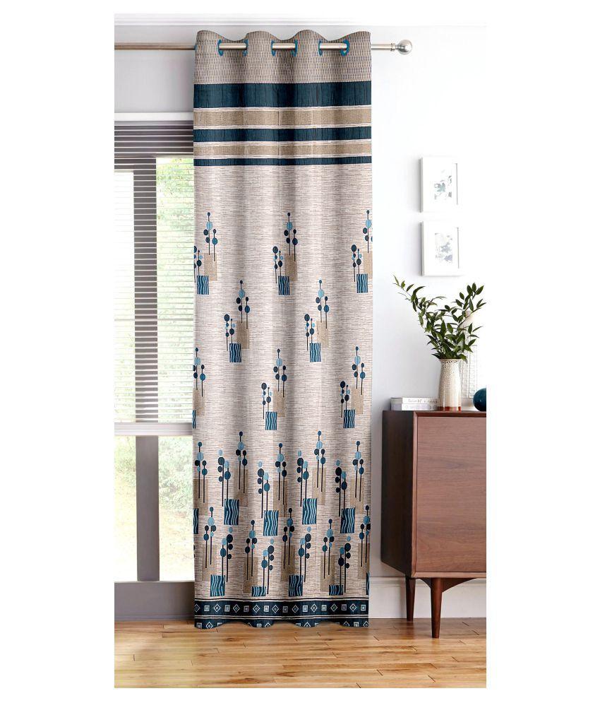 Story@Home Single Door Blackout Room Darkening Eyelet Jute Curtains Turquoise