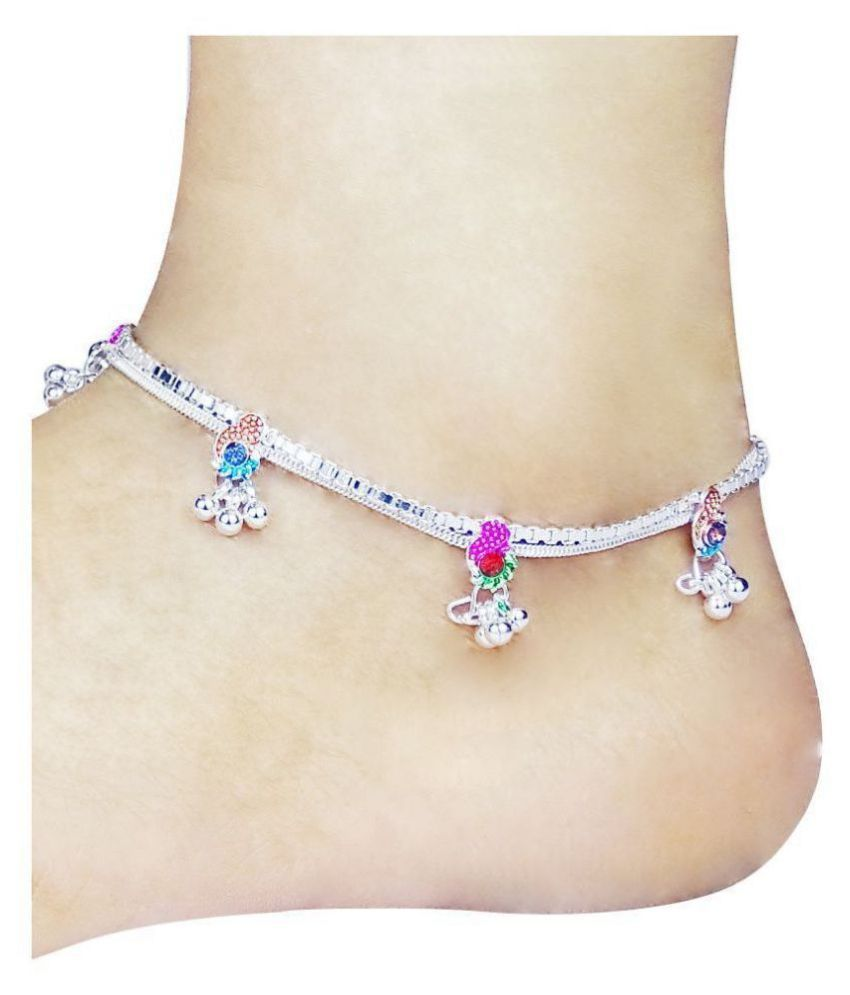SALLOW Alloy Silver Plated Pair Of Anklets Multicolor