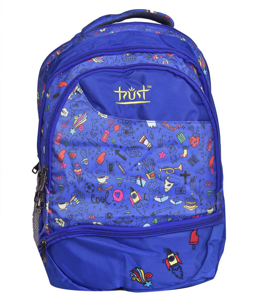 Trust Blue Polyester College Bag
