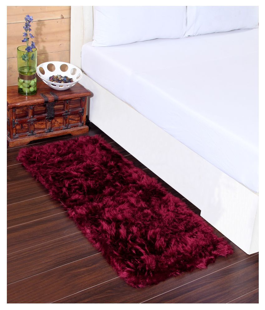 Beautiful Homes Maroon Runner Single Polyester Floral 2x5 Ft