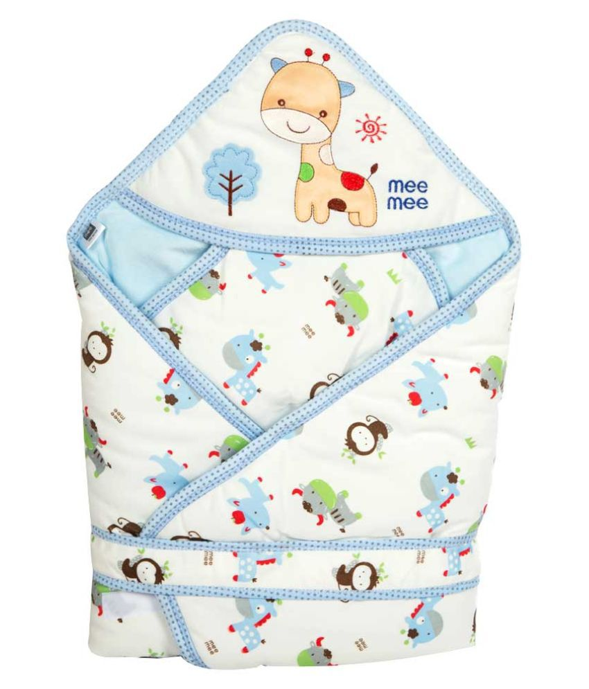 Mee Mee Blue Cotton Baby Wrap cum blanket ( 39 cm × 7 cm - 1 pcs)