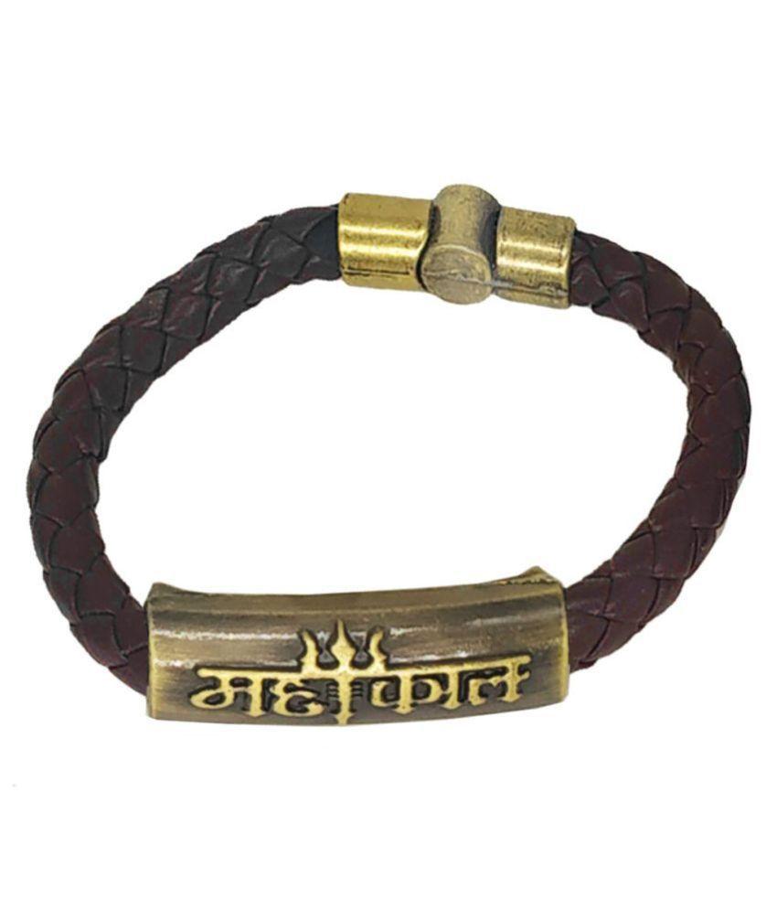 Shiv Jagdamba Mahakal Trishul Charm ID Brown Gold  Leather Stainless Steel  Bracelet