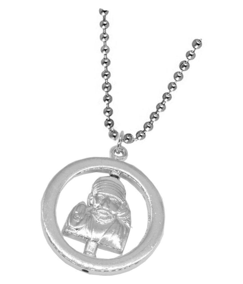 Shiv Jagdamba  Religious Jewelry Shirdi Sai BaBa Locket With Chain Sterling Silver Metal Pendant