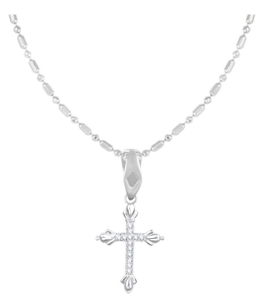 VIRINA Christain Cross Rhodium Plated Alloy & Brass Cubic Zirconia God Pendant for Women & Men [VGP1071R]