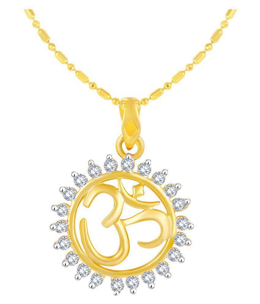 VIRINA OM Gold Plated Alloy & Brass Cubic Zirconia god Pendant with Chain for Women & Men [VGP1126G]