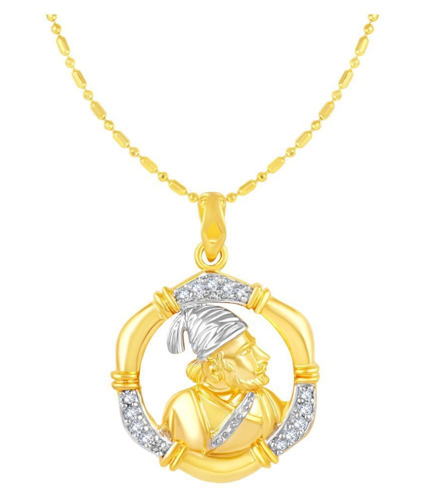 VIRINA Shivaji Maharaj Gold Plated Alloy & Brass Cubic Zirconia god Pendant with Chain for Women & Men [VGP1118G]
