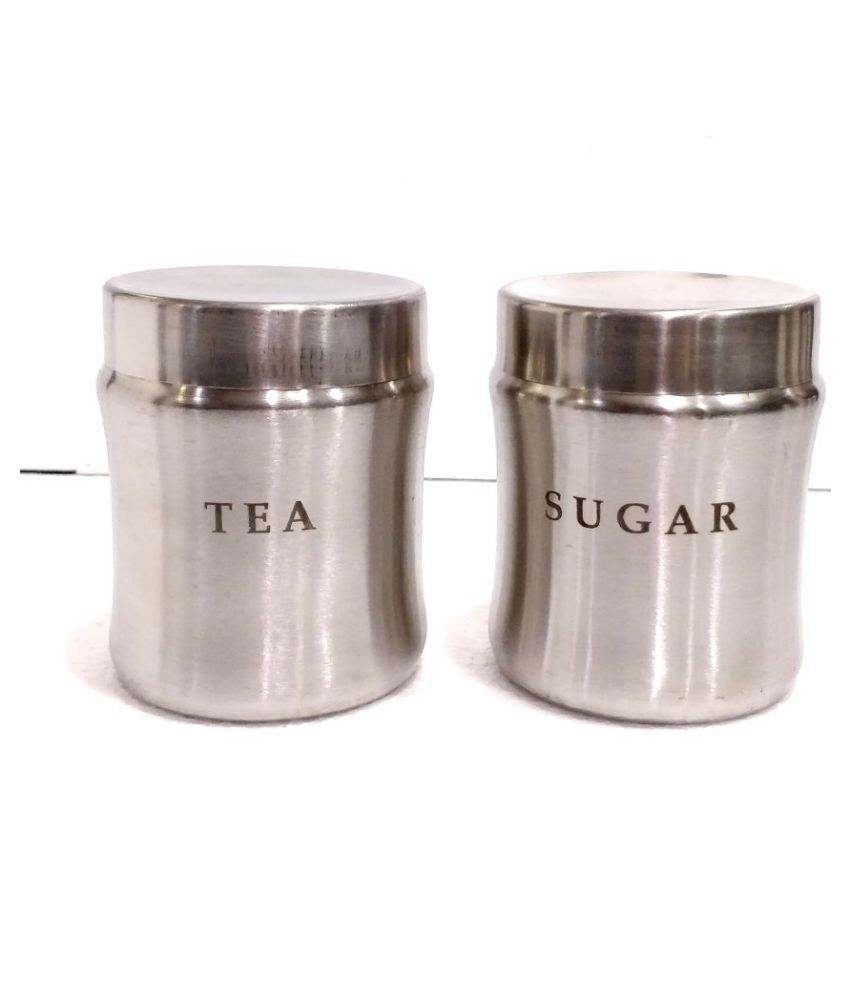 BOXY Curve Shaped 2 pc Steel Tea/Coffee/Sugar Container Set of 2 800 mL