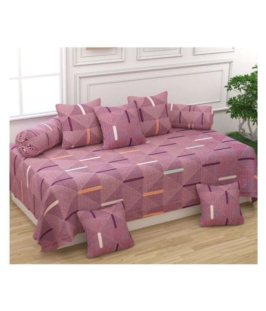 Homefab India Poly Cotton Multi Contemporary Diwan Set 8 Pcs