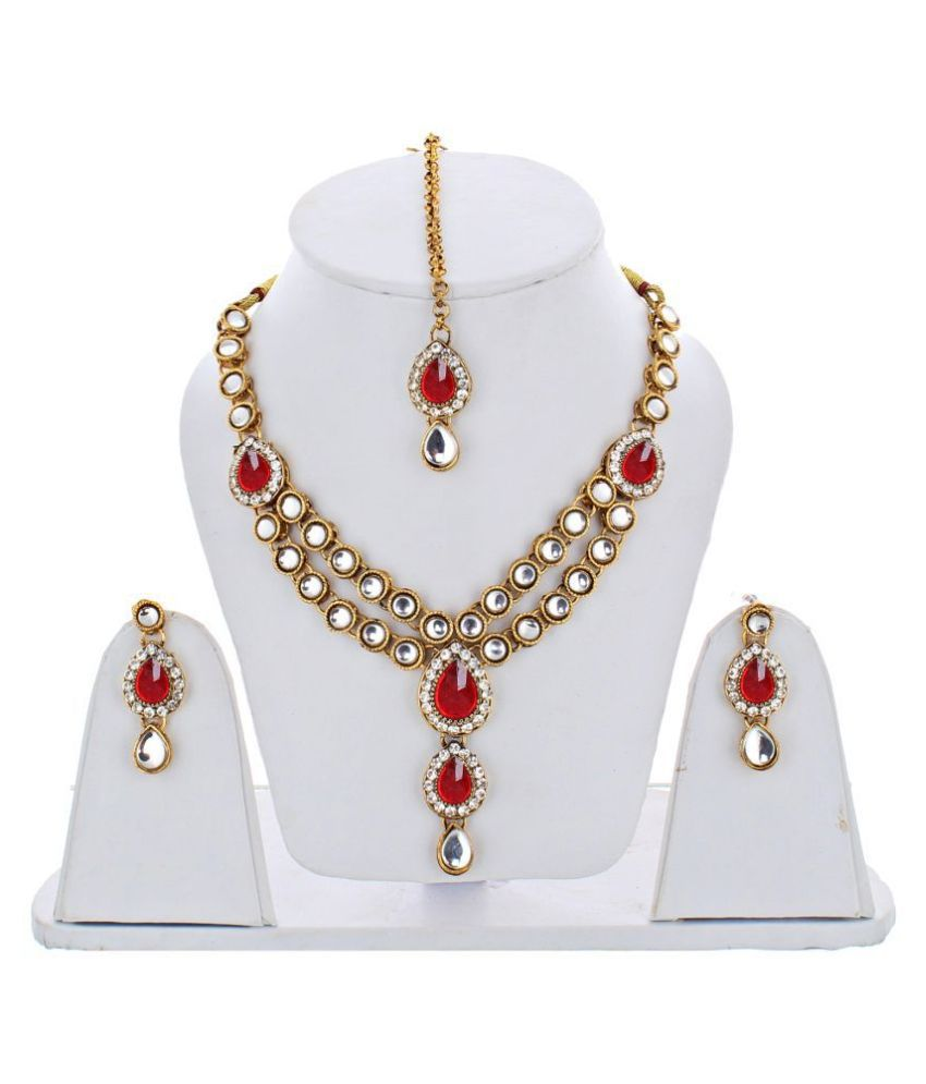 Lucky Jewellery Designer Red Color Stone Kundan Double Locket Necklace Set With Earring And Tikka For Girls & Women