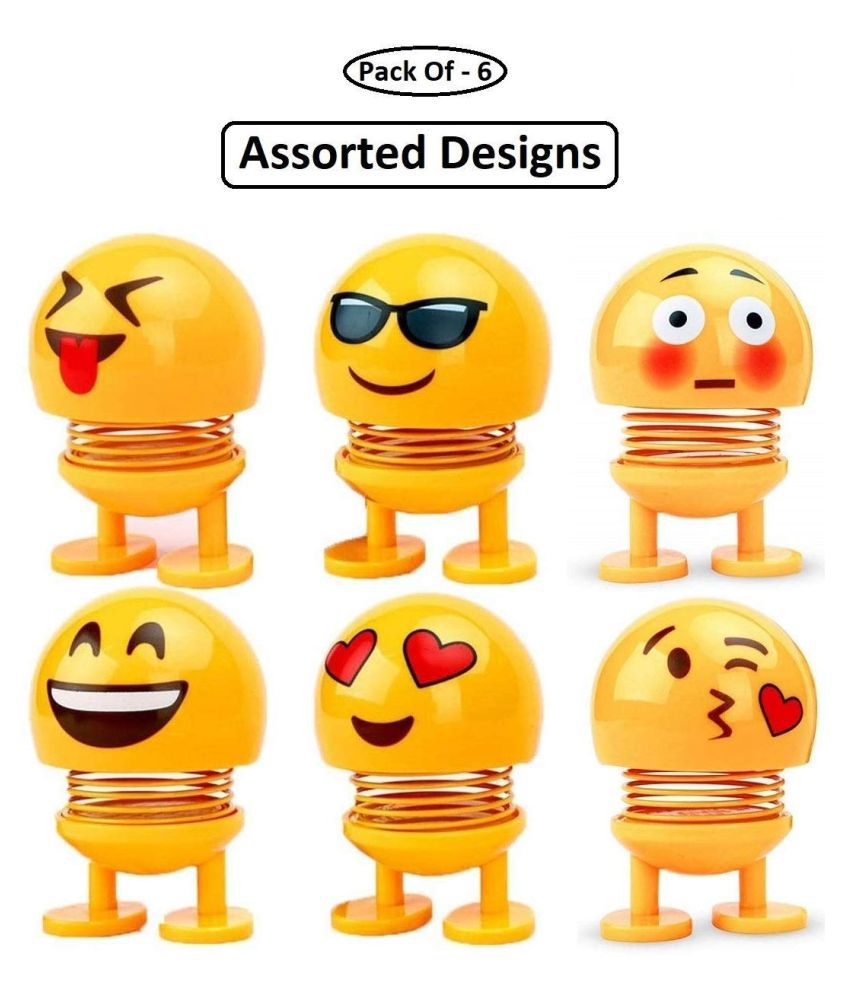 Husain Mart Pack of 6 Emoji/Smiley Spring Doll,Cute Emoji for Car Dashboard Bounce Toys,Emoticon Figure Funny Smiley Face Springs Car Decoration for Car Interior Dashboard Expression