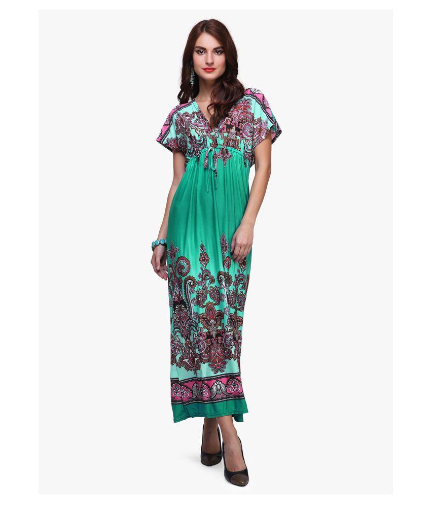 Sartorial Glam Poly Satin Green Regular Dress