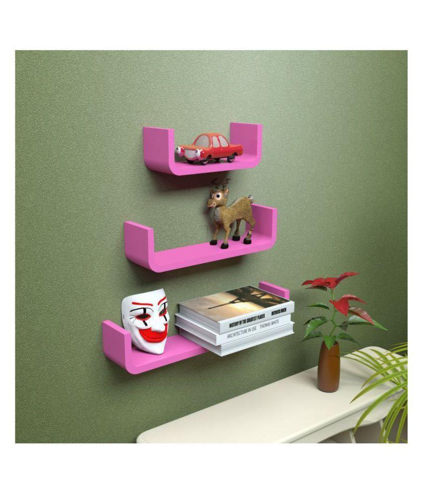 WOOD WORLD Floating Shelves Pink MDF - Pack of 1