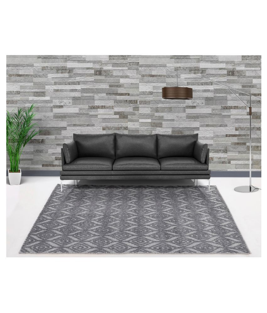 UB Home and Decor Silver Wool Carpet Others 4x6 Ft