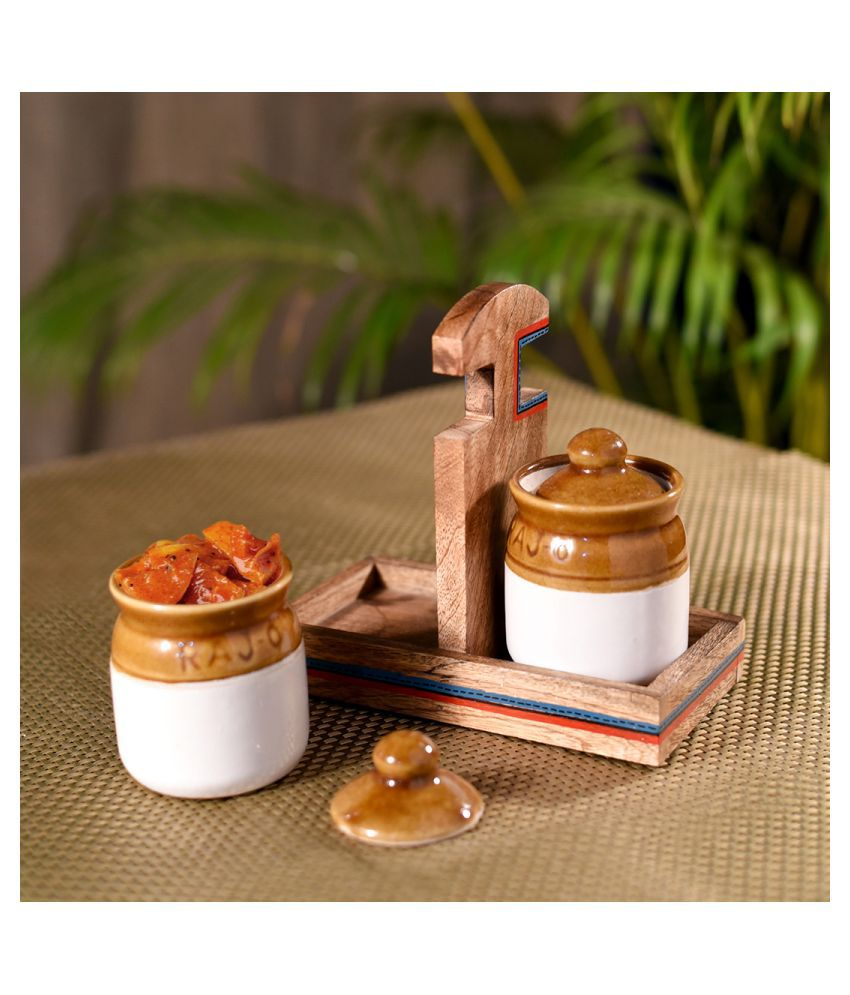 Unravel India martaban jar Ceramic Pickle Container Set of 2 225 mL