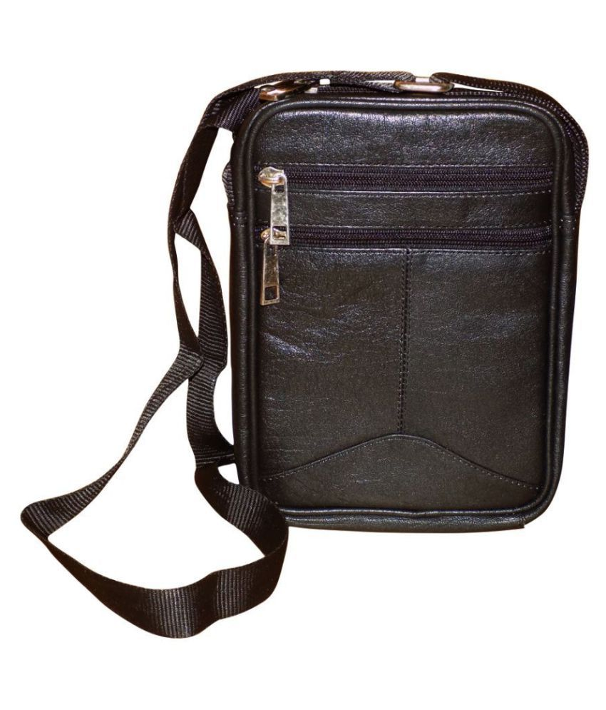 Style 98 Genuine Black Leather Casual Messenger Bag