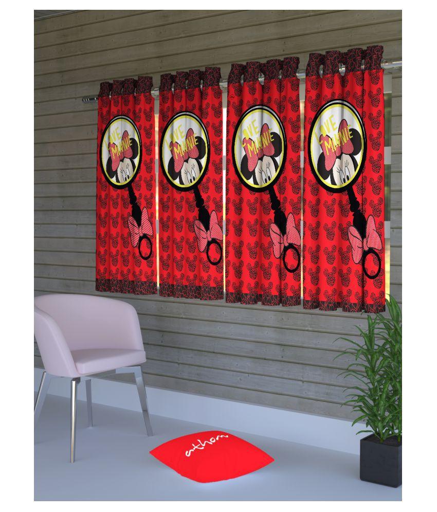 Disney Set of 4 Window Semi-Transparent Eyelet Polyester Curtains Red