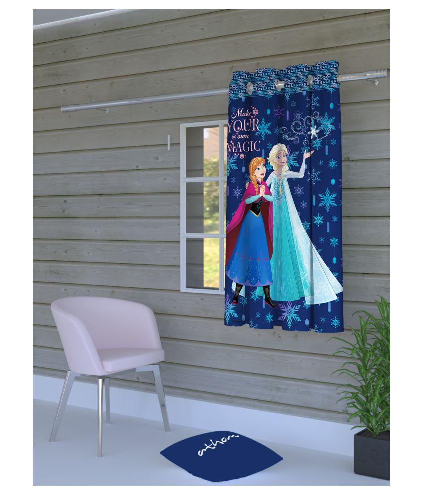 Disney Single Door Semi-Transparent Eyelet Polyester Curtains Blue