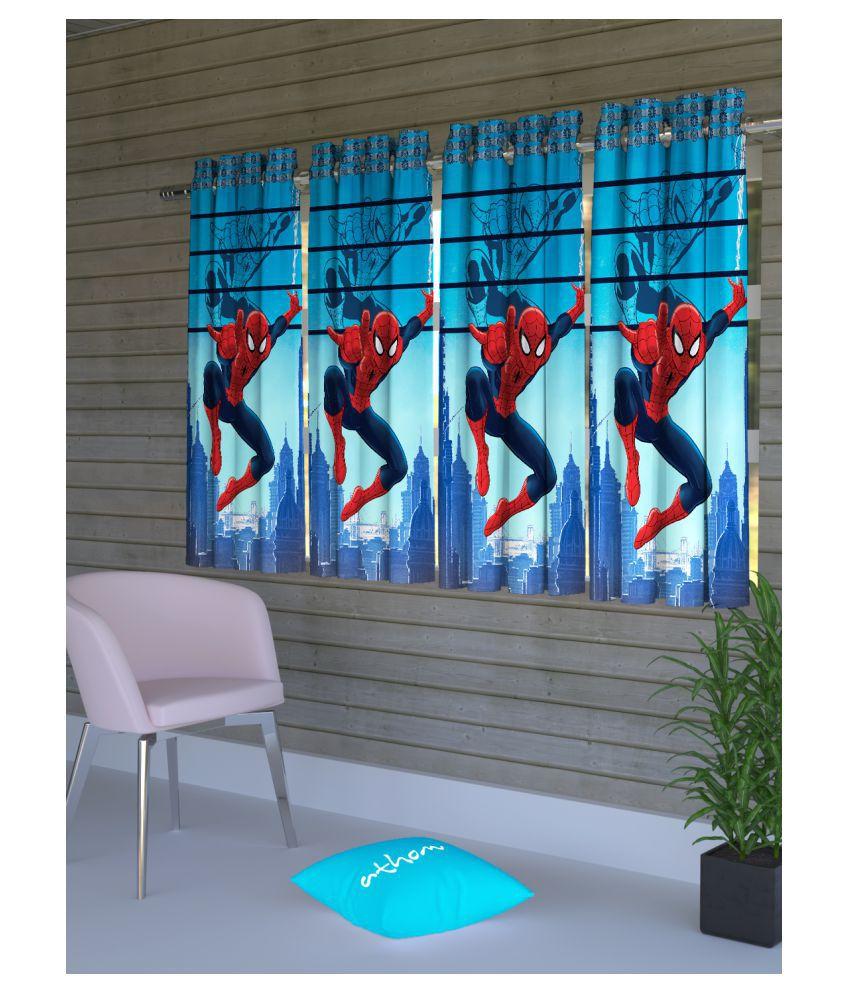 Marvel Set of 4 Window Semi-Transparent Eyelet Polyester Curtains Blue