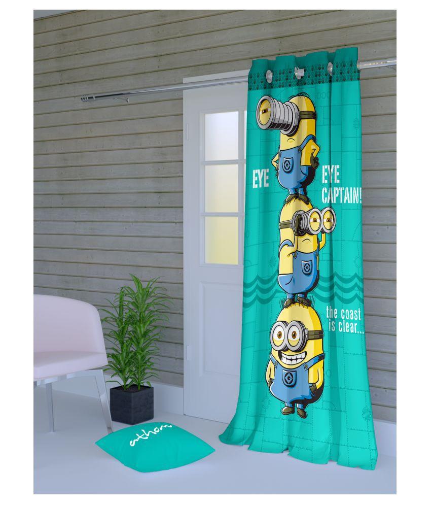 Minions Single Door Semi-Transparent Eyelet Polyester Curtains Green
