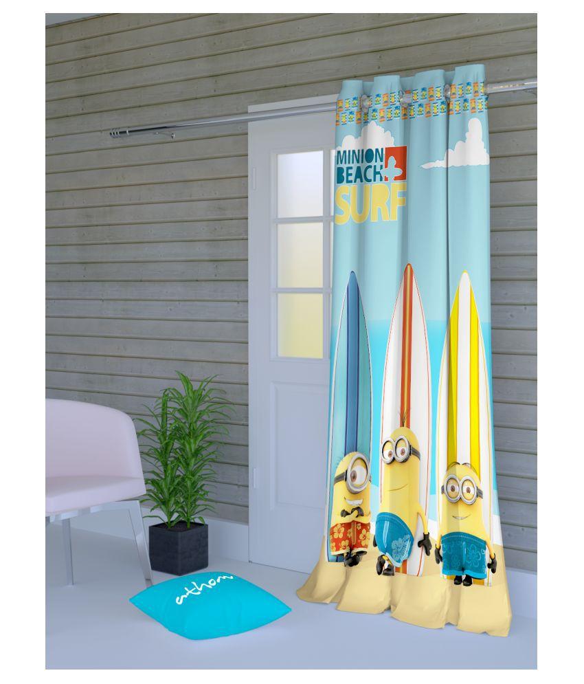 Minions Single Door Semi-Transparent Eyelet Polyester Curtains Blue