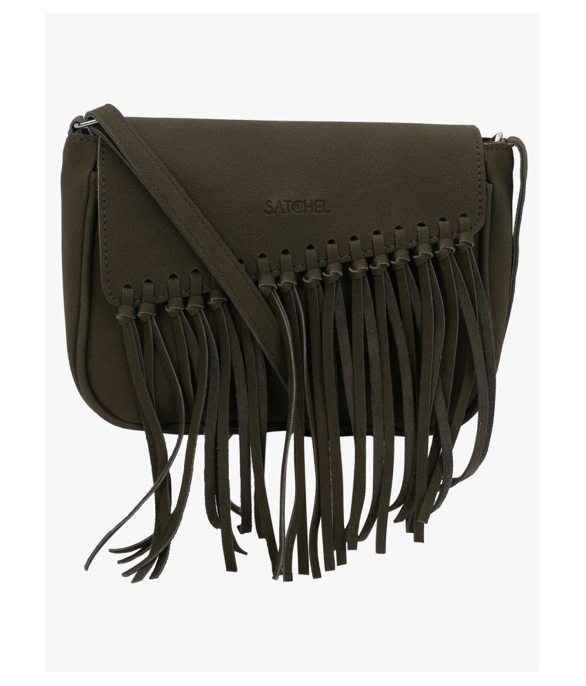 Satchel Bags Green P.U. Sling Bag