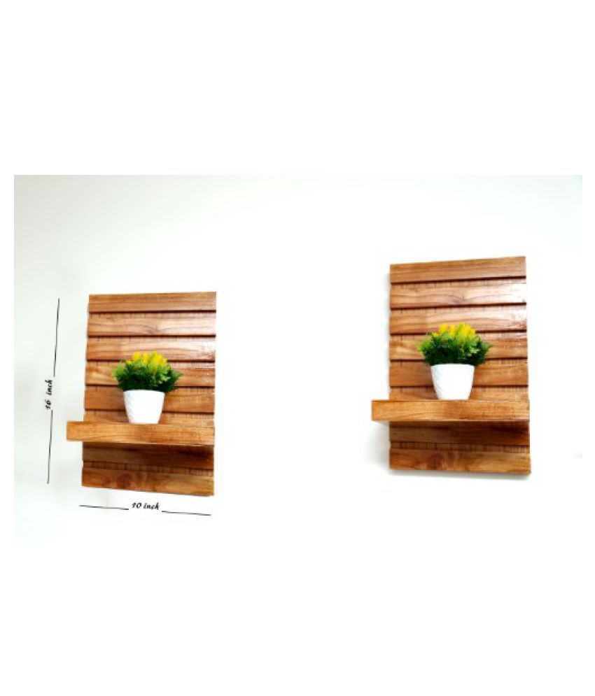 CE Floating Shelves Brown Wood - Pack of 2