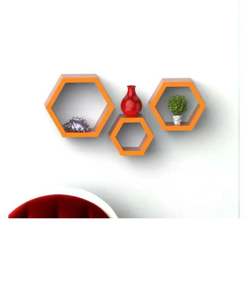Onlineshoppee Fancy Set of 3 Hexagonal Shape MDF Wall Shelf Big Color- Orange