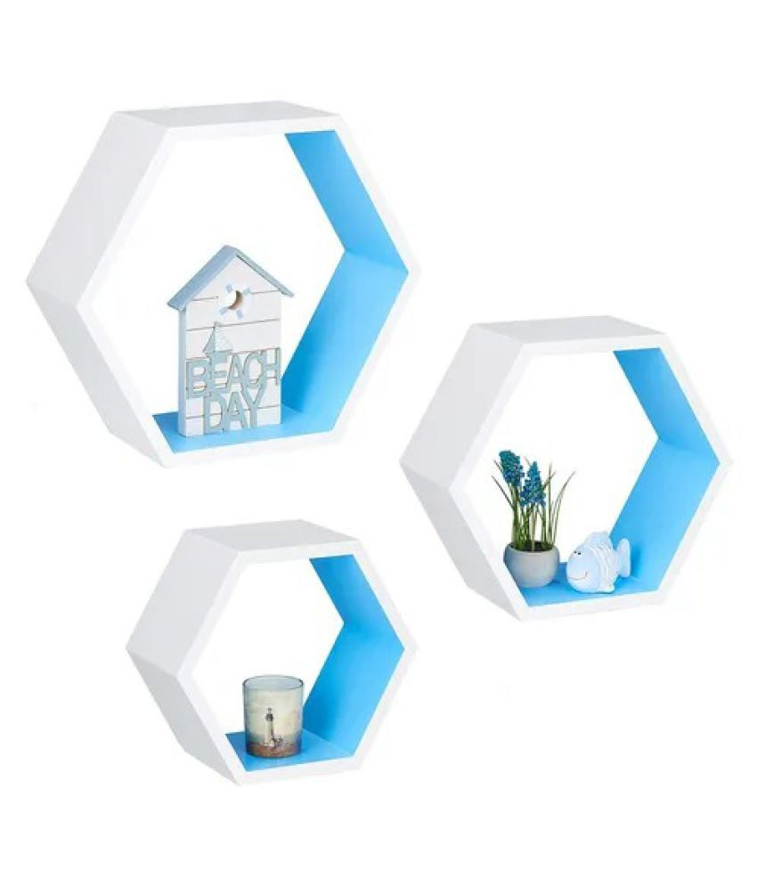 Onlineshoppee Hexagon Floating Wall Shelf Set of 3 ( White-Blue )