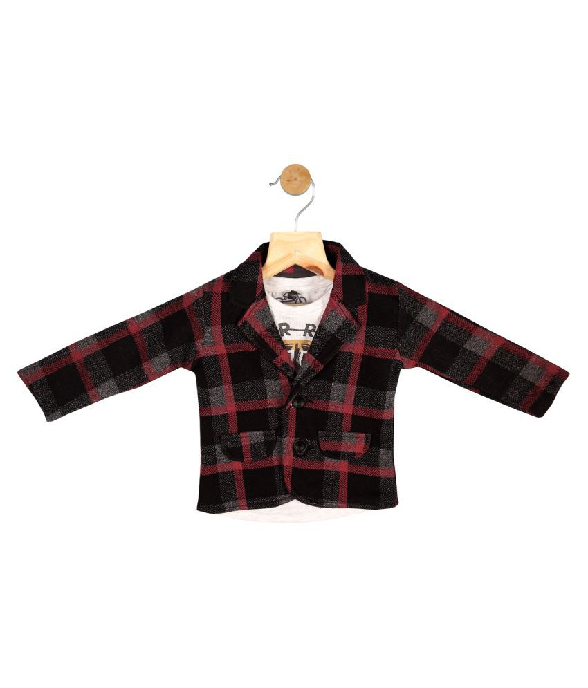 Gusto Baby Boy's Red Cotton Blend Plaids Blazer with T-Shirt