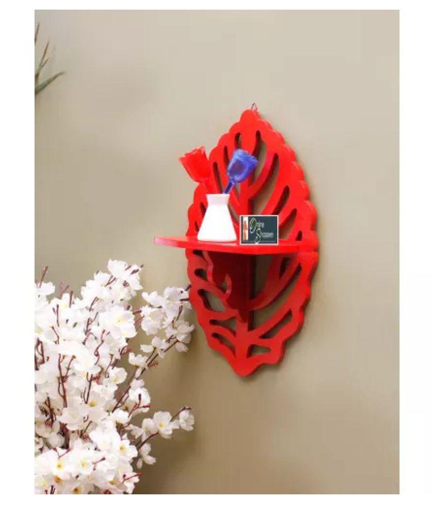 Onlineshoppee Beautiful MDF Decorative Corner Wall Shelf - Red