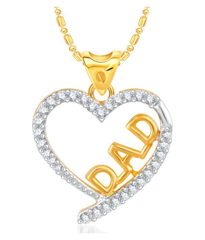 VK Jewels Dad Gold and Rhodium Plated Alloy CZ American