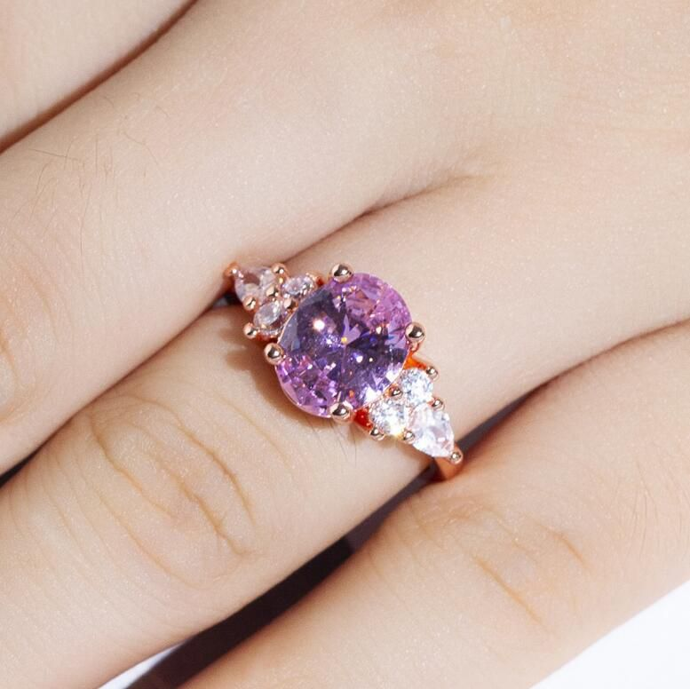 1Pc Pink Diamond Crystal Ring Goose Egg Shaped Diamond Diamond Ring Fashion Jewellery