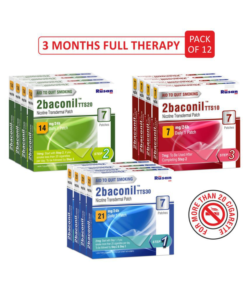 2baconil Complete 3 Months Therapy ( 21-14-7) Patches 100 Pcs