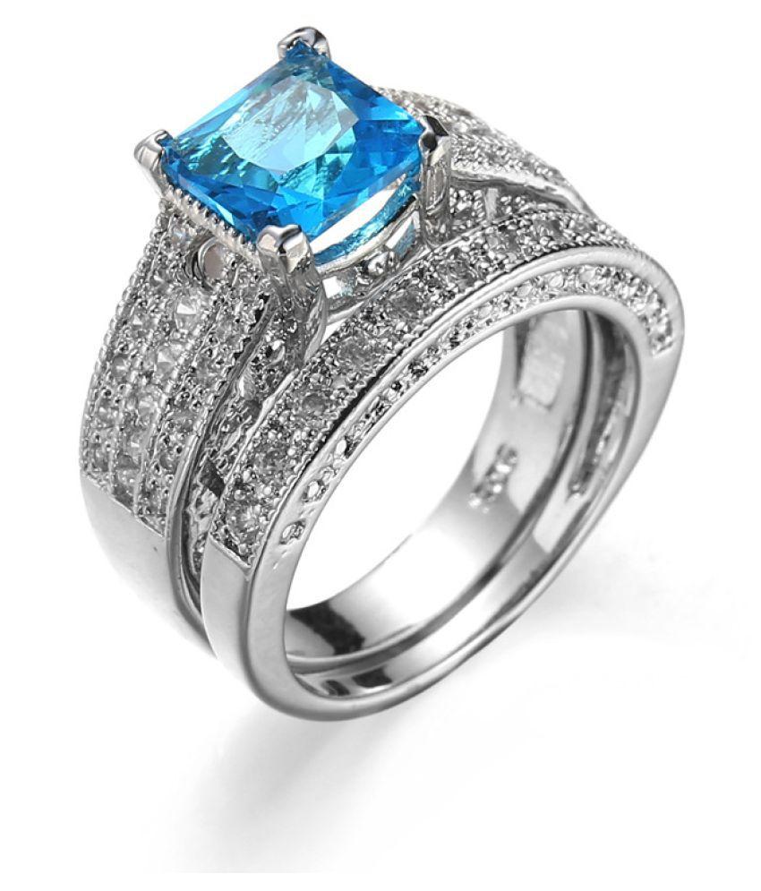 Pair Of Jewelry Rings Sea Blue Diamonds Fashion Jewellery
