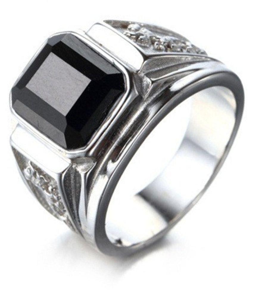 Cool Silver Color Black Diamond Men's Ring Fashion Jewellery