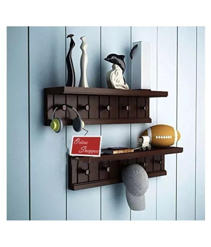 Onlineshoppee Wooden Handicraft Designer Wall Shelf/Bracket With Hangers ( Set of 2 )