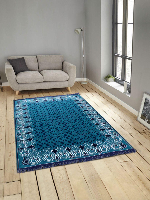 Romee Blue Polyester Carpet Ethnic 4x6 Ft