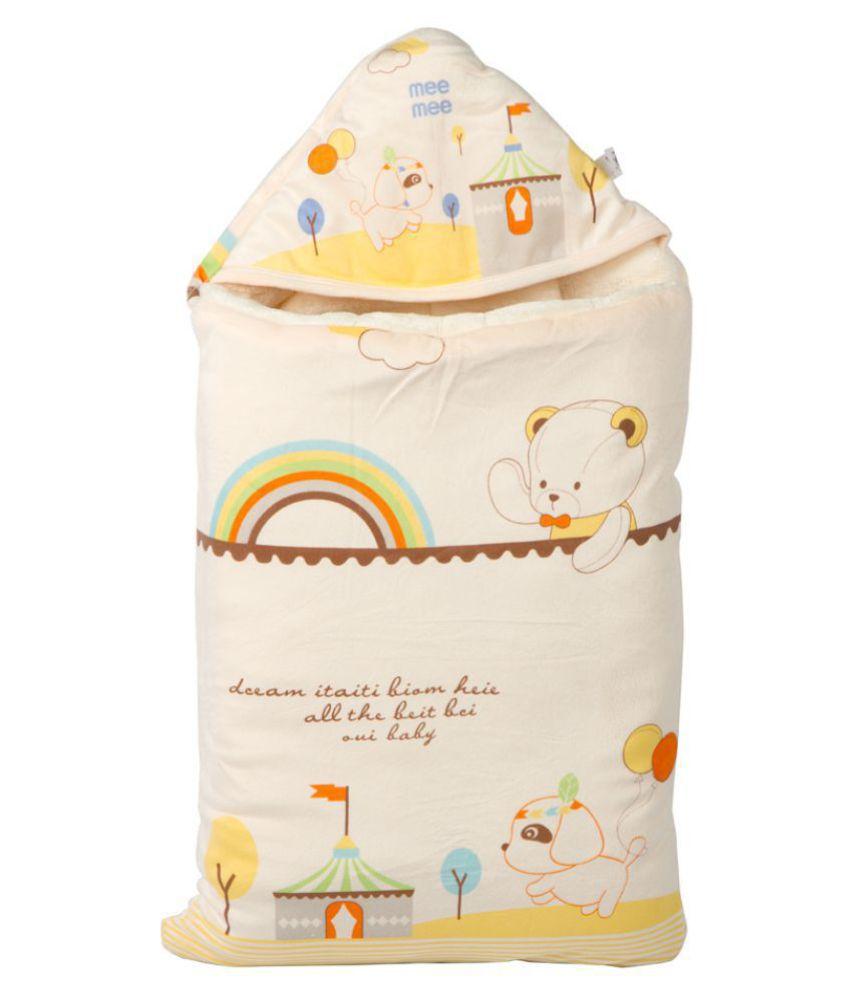 Mee Mee Yellow Cotton Baby Wrap cum blanket ( 42 cm × 3 cm - 1 pcs)