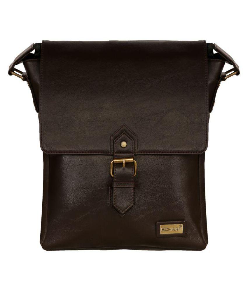 Scharf William- Distressed Brown P.U. Casual Messenger Bag