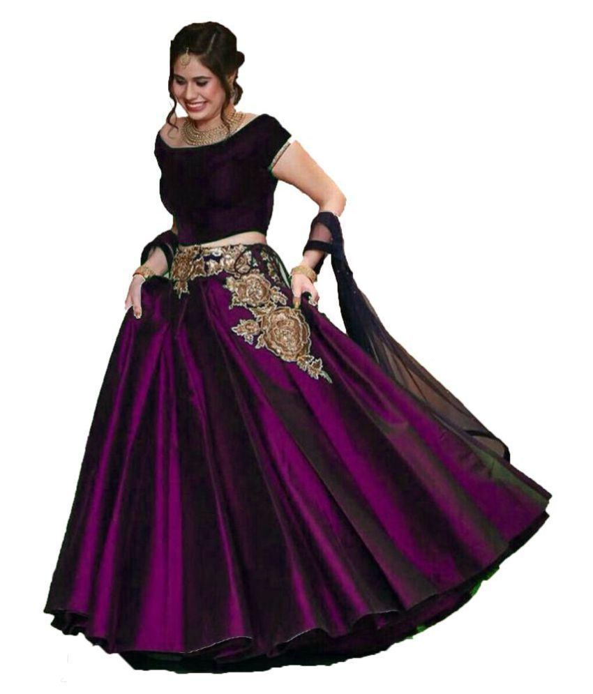 Chaniya choli Purple Silk Circular Semi Stitched Lehenga
