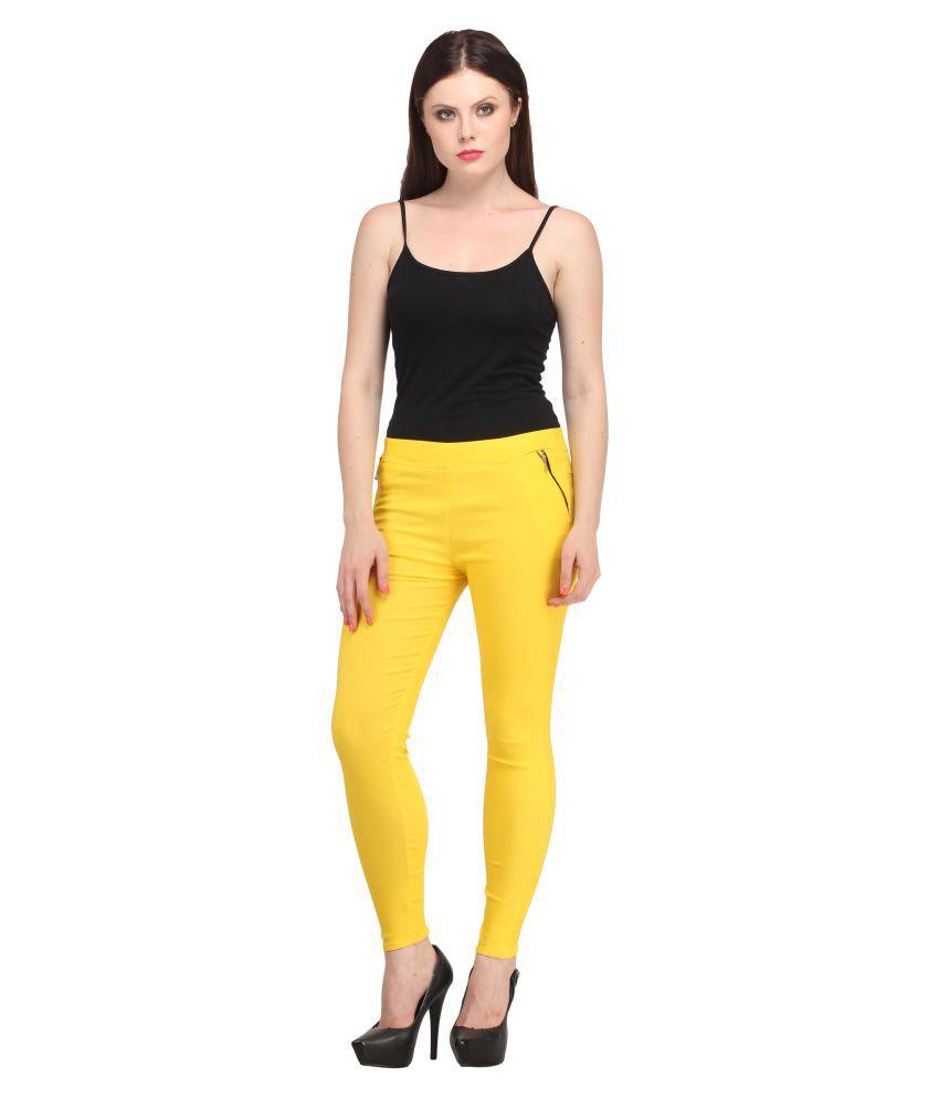 Nikvik Cotton Lycra Jeggings - Yellow