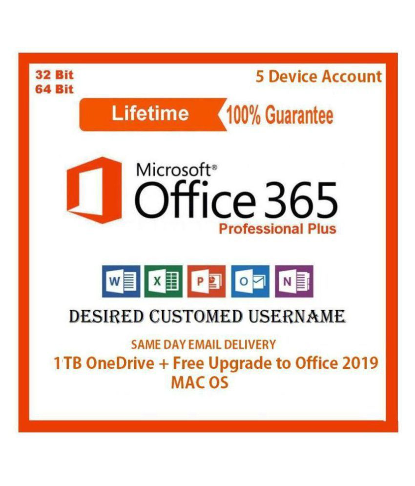 Microsoft Office 365 Pro Plus ( 32/64 Bit ) - 5 Devices