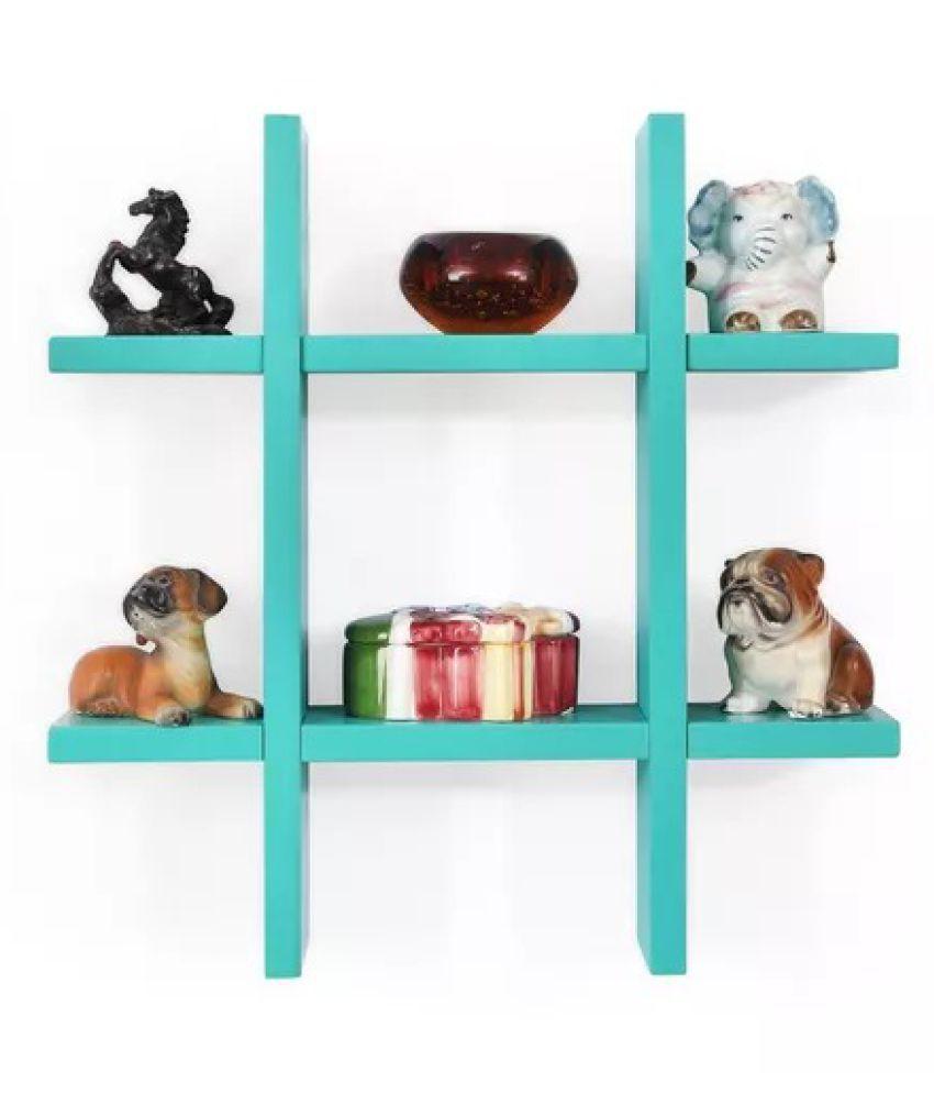 Onlineshoppee Wooden Wall decor Rack Shelf - Blue