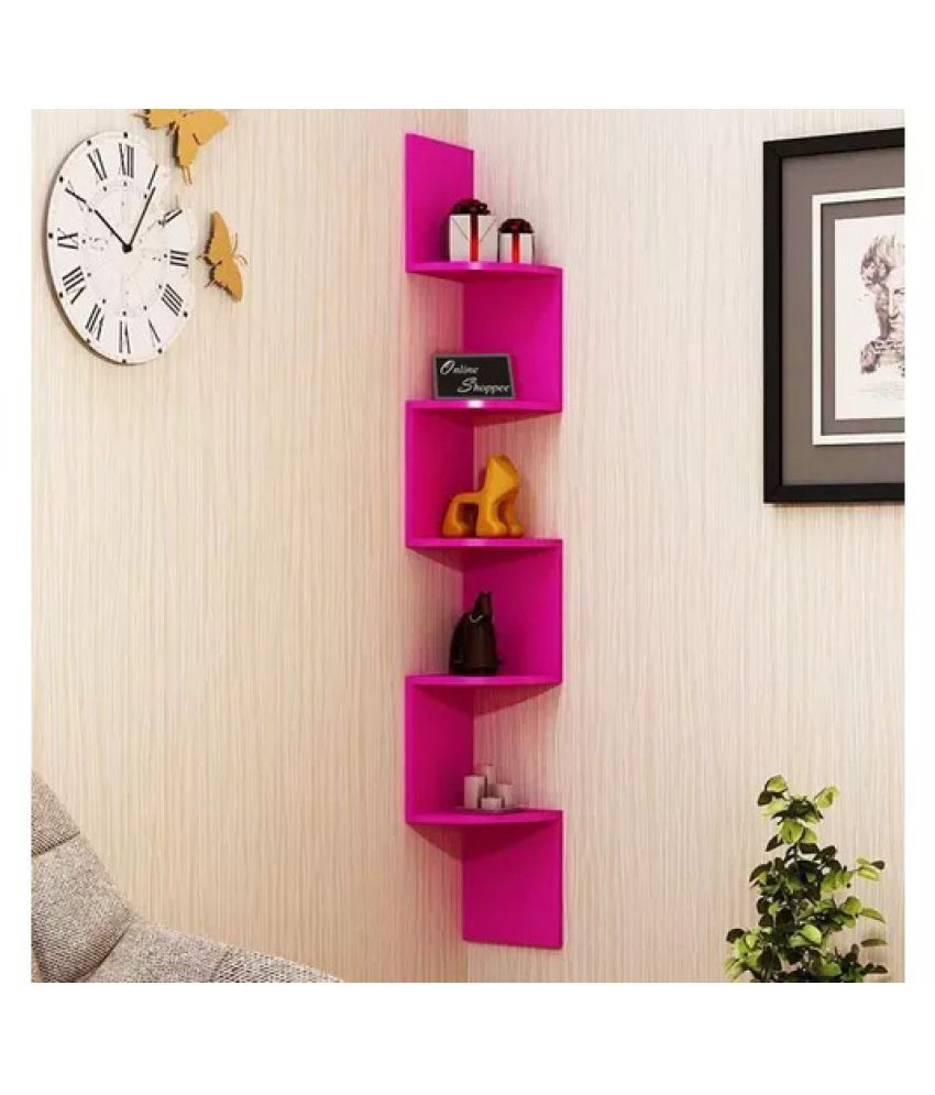 Onlineshoppee Wooden Fancy Zigzag Wall Mount Floating Corner Wall Shelf - Pink