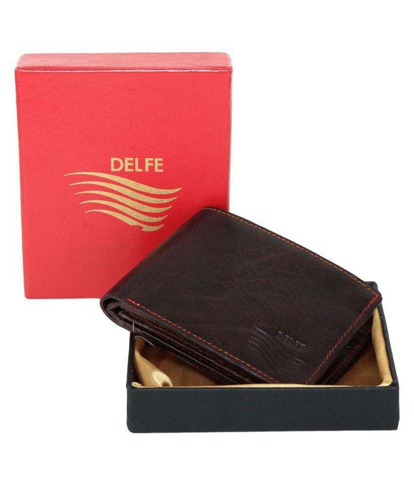 Delfe Leather Brown Casual Regular Wallet